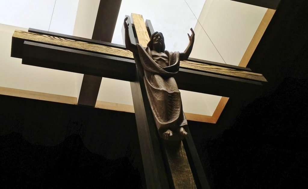 Cross of Risen Christ, Church of St. Matthew, St. Paul, Minnesota. This is unlike a traditional crucifix.
